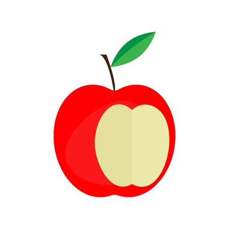 vector image of bitten apple on a white background