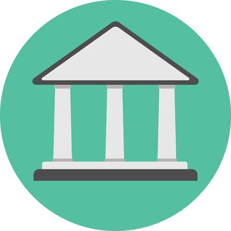 Flat icon of bank building. vector illustration