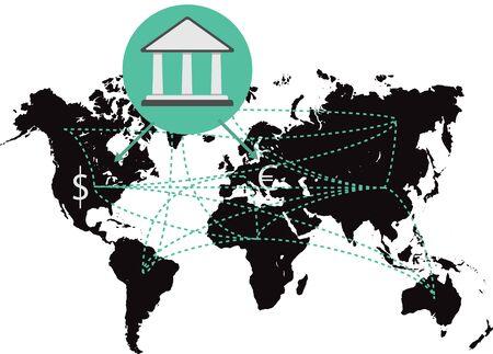 World map money on background bank. Banking system.