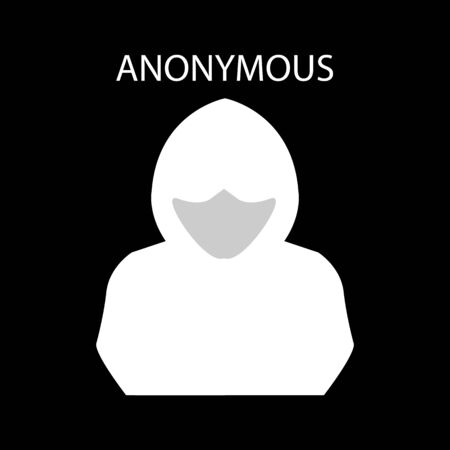 vector icon of unknown man with covered face - anonymous