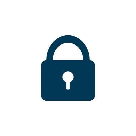 blue vector door lock icon on a white background Çizim