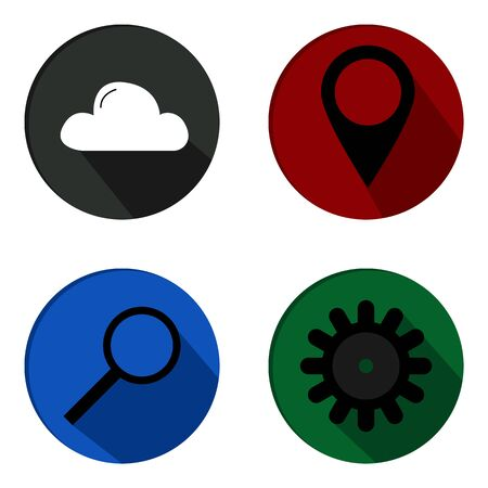 vector set of weather, geolocation, search and support icons