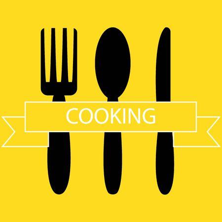 fork, spoon, knife - kitchen set for eating