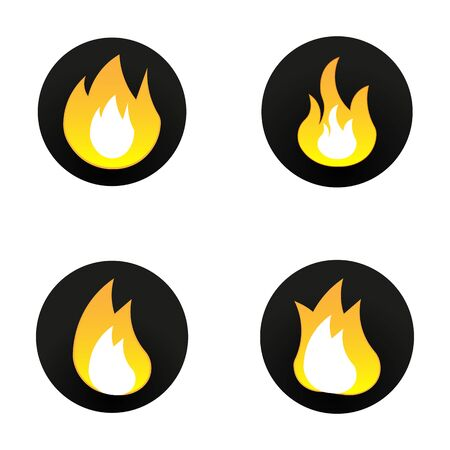set of vector flat fire icons on a white background 일러스트