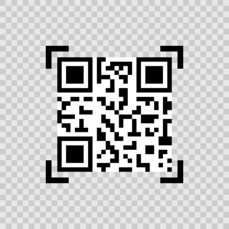 vector qr code icon in camera focus on background Stock Illustratie