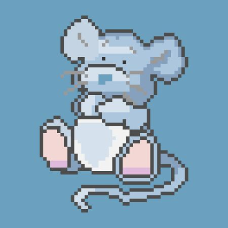 vector image of a mouse in pixel style Banco de Imagens - 133540561