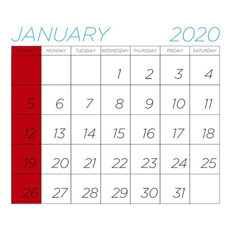 Vector calendar image for January 2020 on a white background Illustration