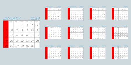 Vector image of the calendar for 2020 with all the months of the year