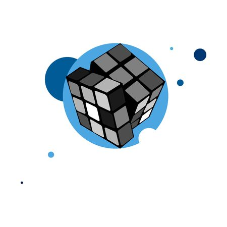vector image of a game cube with abstract backdrop Çizim