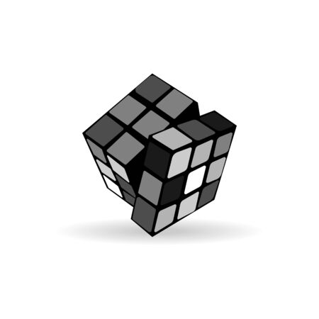vector image of a developing cube for children