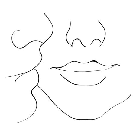 Vector image of a kiss on the cheek. Kiss of boyfriend and girlfriend.