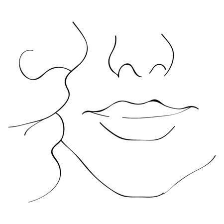 Vektorbild eines Kusses auf die Wange. Kuss von Freund und Freundin.