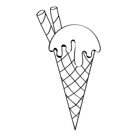 Vector image of ice cream in outlines