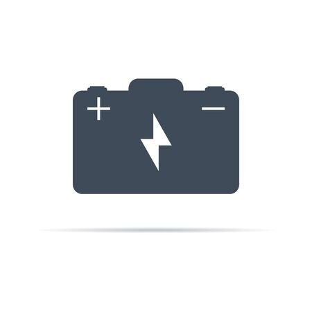 vector battery icon with plus and minus poles