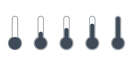 vector set of thermometers with different air temperature