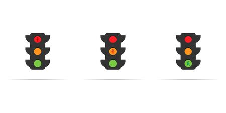 vector set of traffic light icons with many color sections 向量圖像