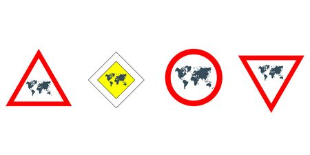 vector set of road signs with world map Çizim