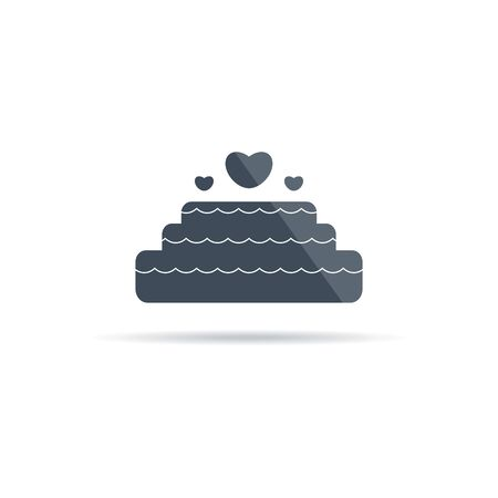 Vector wedding cake icon with hearts and flare