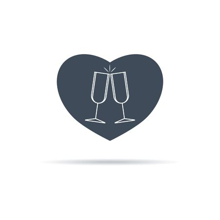 Vector icon of glasses of wine at a meeting of lovers. Glasses in heart.