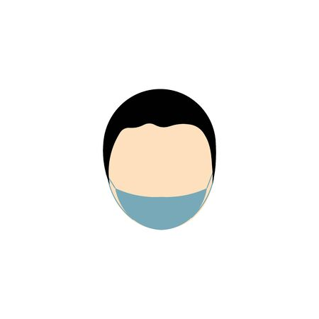 vector icon of male face with black hair of european race in mask against virus 向量圖像