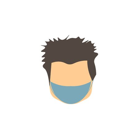 vector icon of male face with gray hair of european race in mask against virus 向量圖像