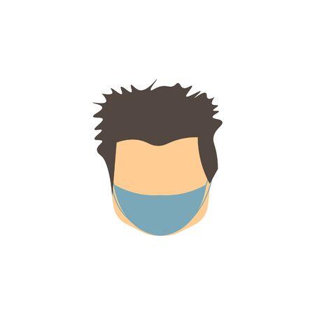 vector icon of male face with gray hair of european race in mask against virus Illusztráció