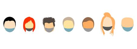 vector set of samples of faces of masked people - men and women
