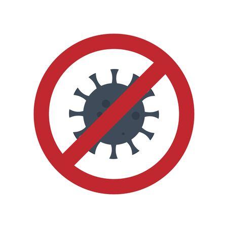 vector icon of Prohibited Coronavirus Bacterial Virus Illusztráció