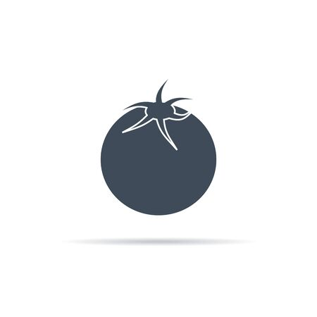 vector icon of tomato with flower bed on background Illusztráció