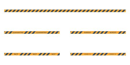vector set of strips of black and yellow warning of danger Illustration