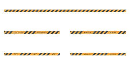 vector set of strips of black and yellow warning of danger Illusztráció