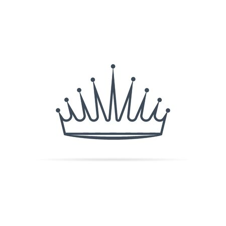 vector crown icon in 3d style with shadow