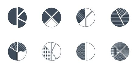 vector set of pie charts of different type of decoration