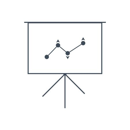 vector image of a projector screen with an income growth rating