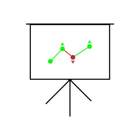 vector image of a projector screen with an income growth rating in color  イラスト・ベクター素材
