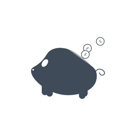 vector piggy bank money icon in the form of pig with falling coins