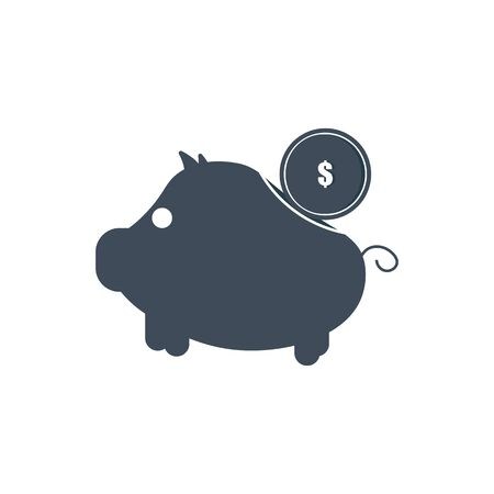 vector piggy bank money icon in the form of a pig with coin insertion