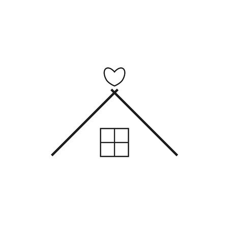 vector home icon with heart calling to stay home