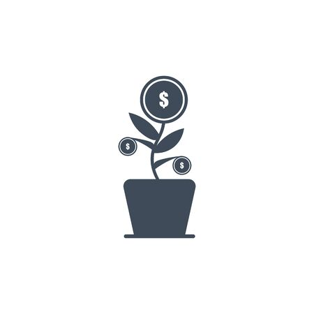 a vector image of a home flowerpot giving fruit to money