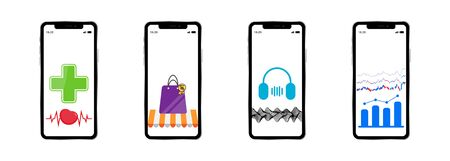 vector set of smartphones with applications for medicine, shopping, music and financial exchange
