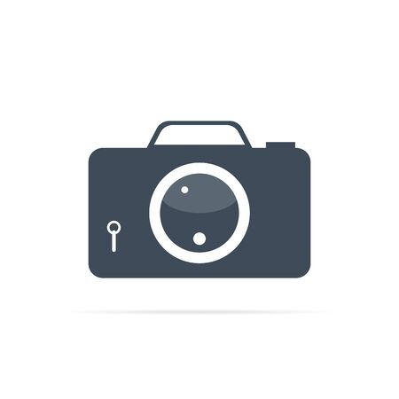 vector camera icon with big lens for photo stock