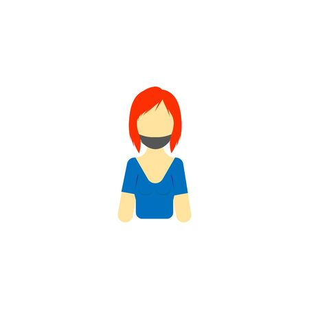 vector profile image of girl in blue t-shirt and mask
