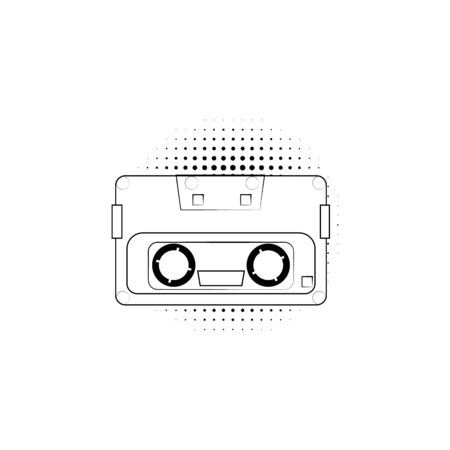 vector vintage cassette tape icon for listening to music in a tape recorder