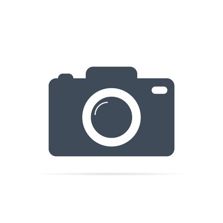 vector camera icon with big lens for photo