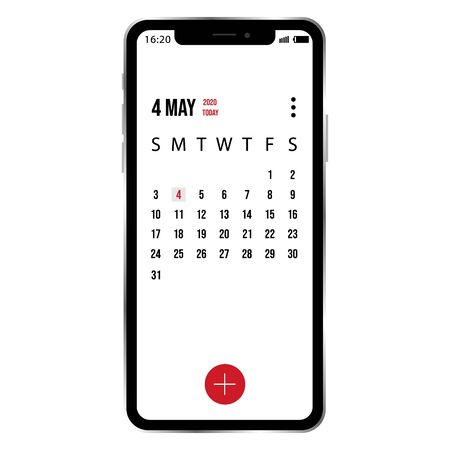 vector illustration of smartphone with example calendar