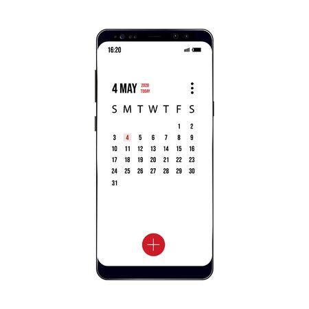 vector illustration of older model smartphone with example calendar Illusztráció
