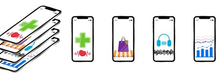a set of smartphones of various kinds with applications for medicine, shopping, music and the financial exchange