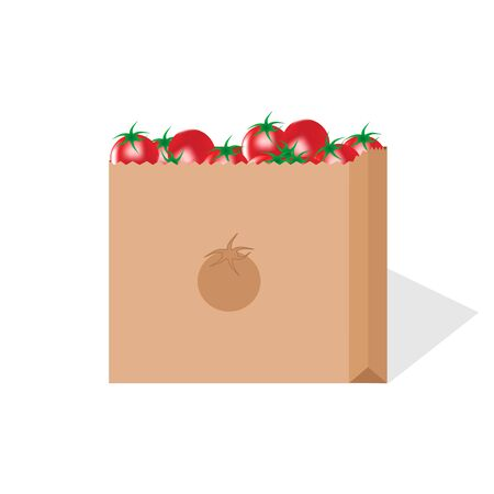 vector image of delivery of paper package of tomatoes