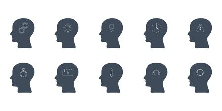 vector set of heads with thought symbols on different topics