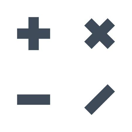 vector set of mathematical symbols - plus, minus, multiplication, division